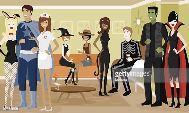 Gruppe von Menschen in Halloween-Kostümen im Party
