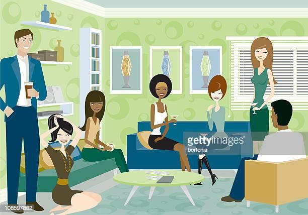 ilustrações, clipart, desenhos animados e ícones de grupo de pessoas na sala de estar no grupo - somente adultos