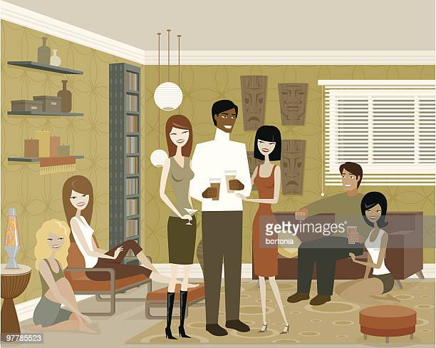 Group of People in Living Room at Party