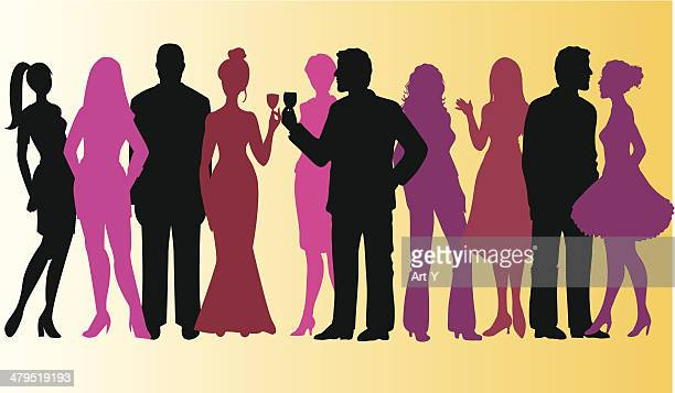 group of people - party - party social event stock illustrations, clip art, cartoons, & icons
