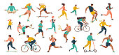 Group of people performing sports activities at park doing yoga and gymnastics exercises, jogging, riding bicycles, playing ball game and tennis.
