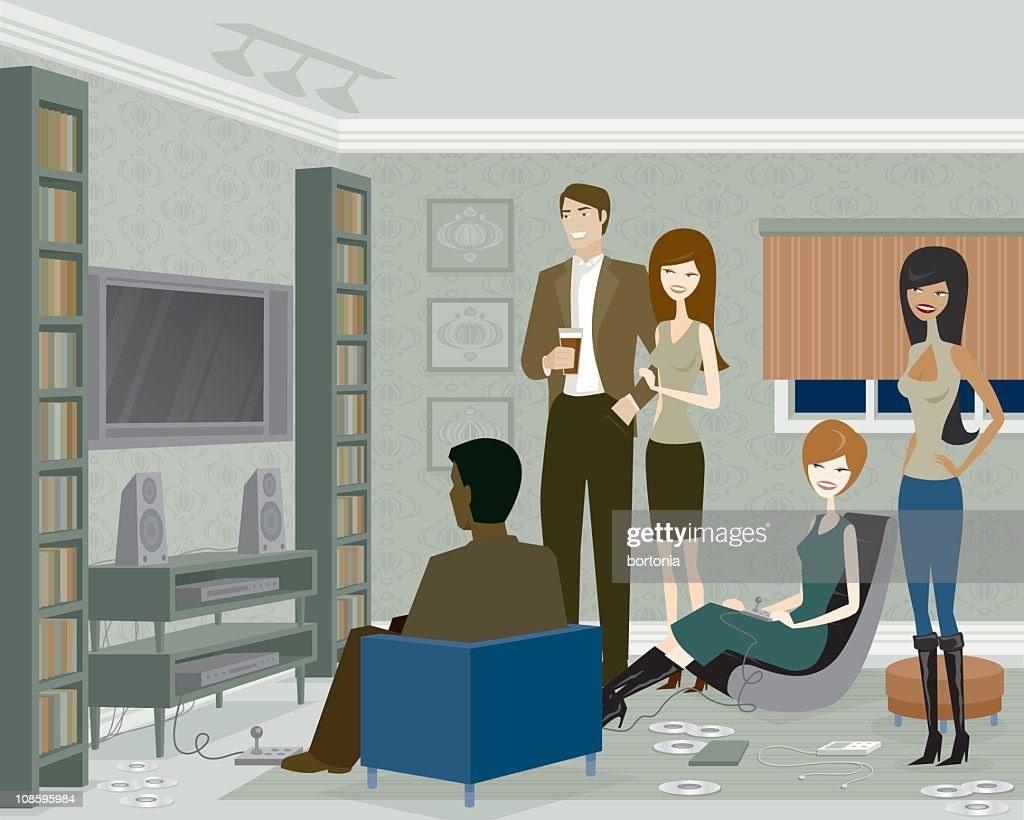Group of People Playing Video Games : stock illustration