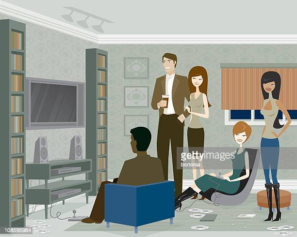 group of people playing video games - party social event stock illustrations