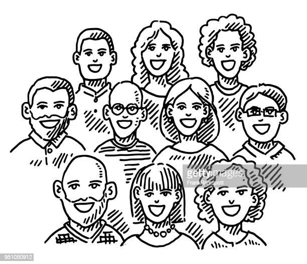 group of people portrait drawing - pen and ink stock illustrations