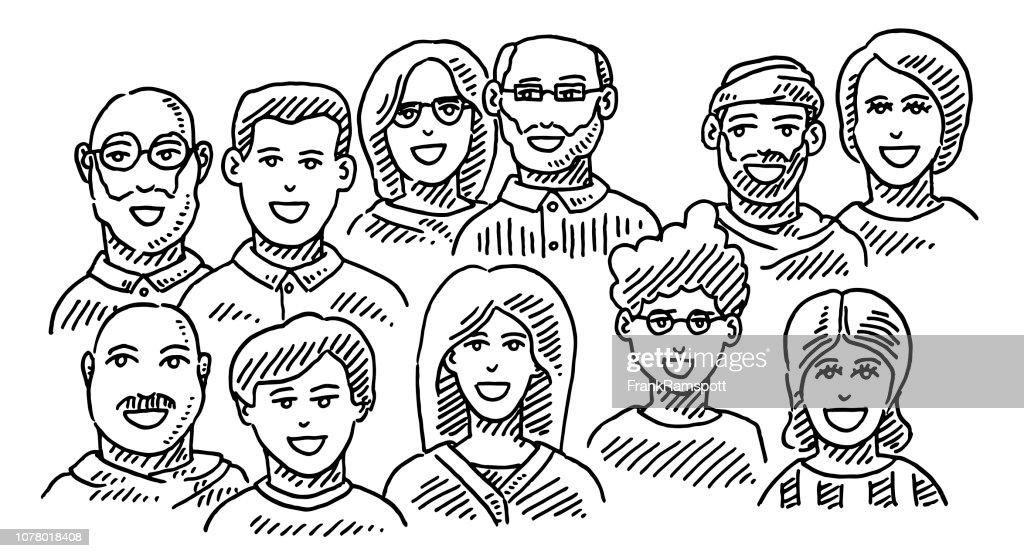 Gruppe von Menschen Portraits Business Team Zeichnung : Vektorgrafik