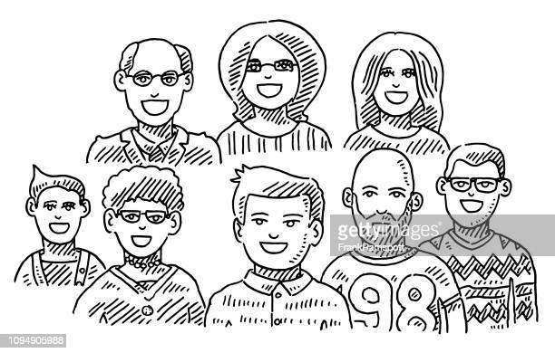 Gruppe von Menschen Portraits Teamwork Zeichnung
