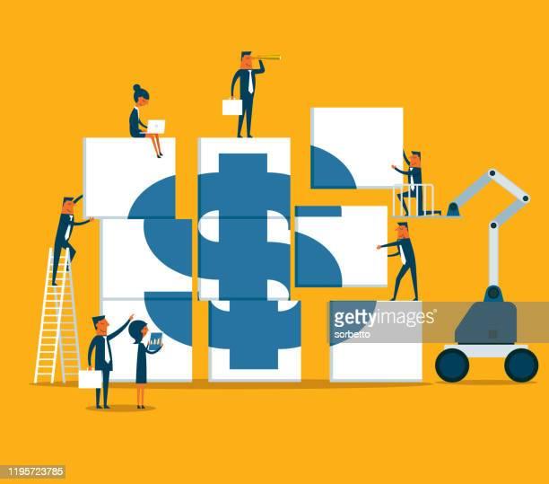 illustrazioni stock, clip art, cartoni animati e icone di tendenza di un gruppo di persone ha messo insieme il simbolo del dollaro - nuova impresa