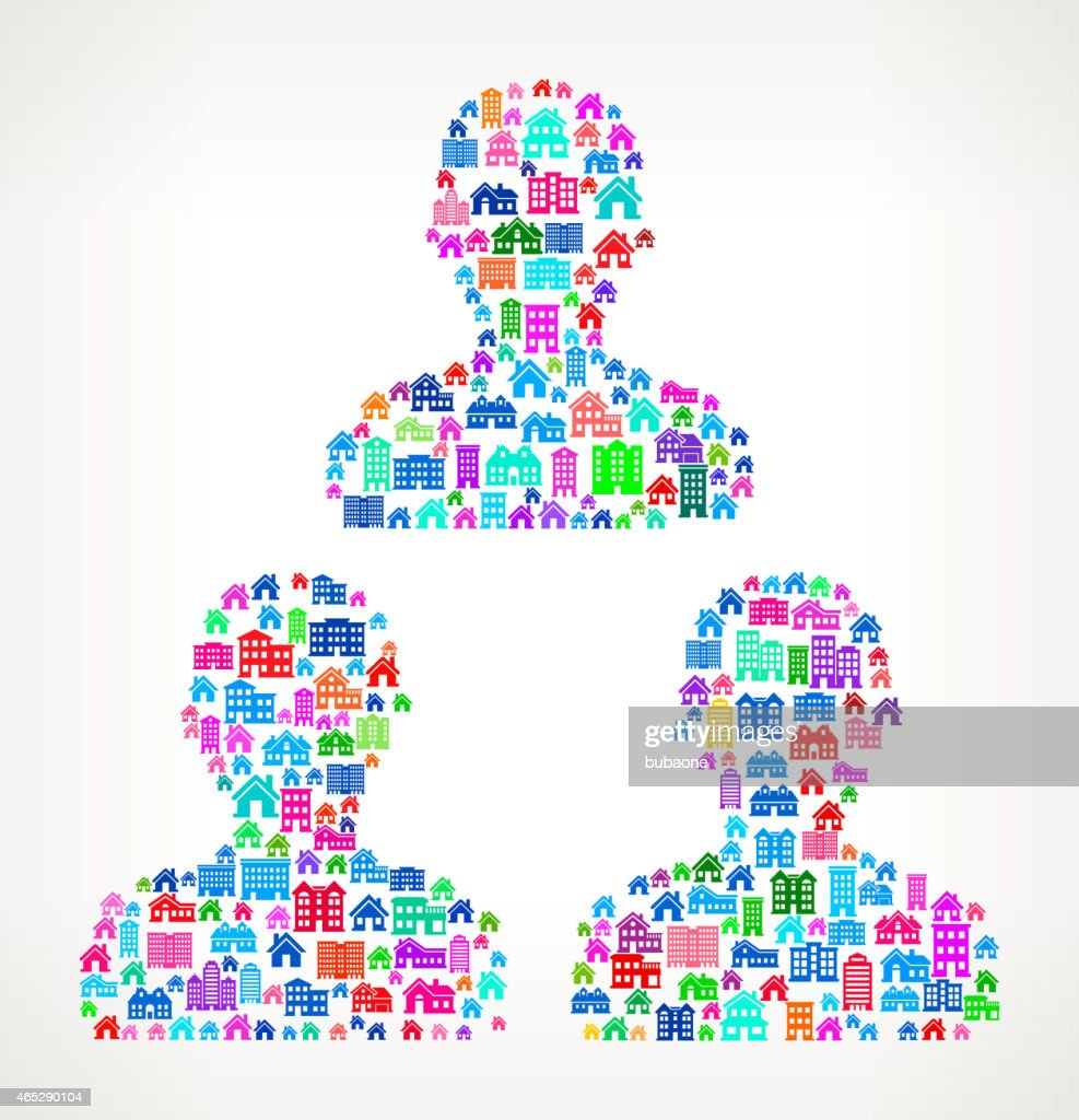 Group of People Real Estate interface icon Pattern : stock illustration