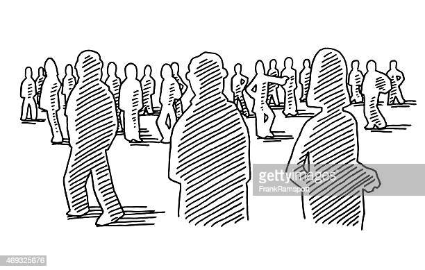 group of people silhouettes drawing - mass stock illustrations