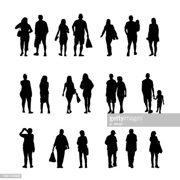 ilustraciones, imágenes clip art, dibujos animados e iconos de stock de un grupo de siluetas de personas y comercial - obesidad infantil