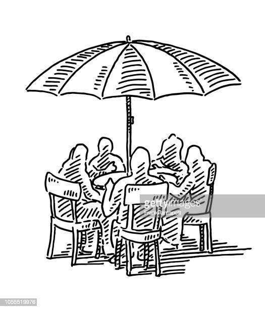 Gruppe von Menschen sitzen Außen Regenschirm Zeichnung