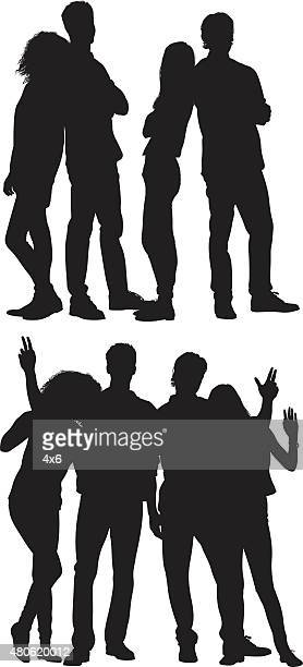 group of people standing together - back to back stock illustrations, clip art, cartoons, & icons
