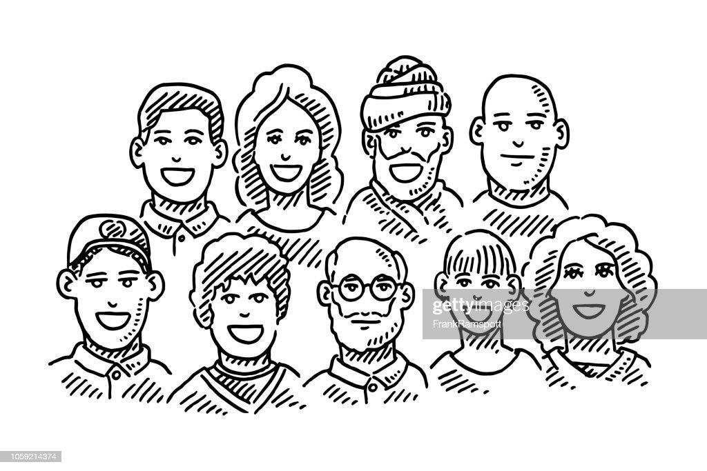 Gruppe von Menschen Teamwork Porträts Zeichnung : Vektorgrafik