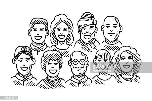 Gruppe von Menschen Teamwork Porträts Zeichnung