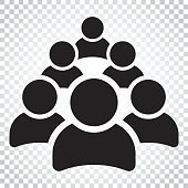 Group of people vector icon. Persons icon illustration. Simple business concept pictogram on isolated background.