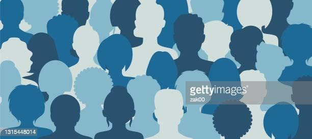 illustrazioni stock, clip art, cartoni animati e icone di tendenza di gruppo di persone - grande gruppo di persone