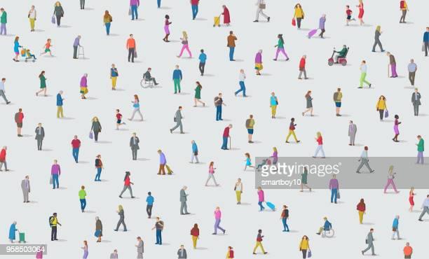 人々の集まり - 歩行器点のイラスト素材/クリップアート素材/マンガ素材/アイコン素材