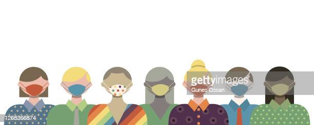 group of people wearing medical face masks - protection against virus - biohazardous substance stock illustrations