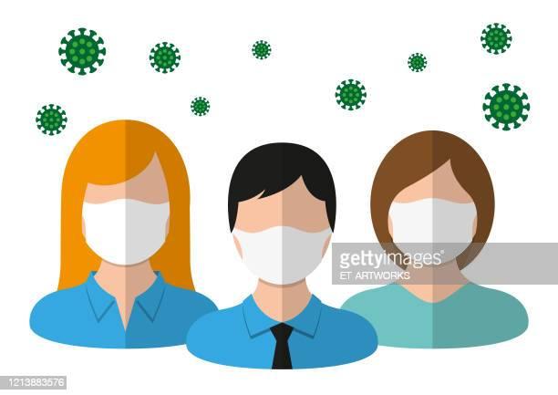 医療マスクを着用した人々のグループ - マスク点のイラスト素材/クリップアート素材/マンガ素材/アイコン素材