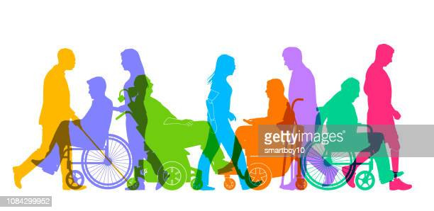 group of people with different disabilities - diversity stock illustrations