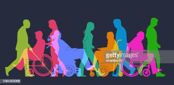group of people with different disabilities - blindness stock illustrations, clip art, cartoons, & icons