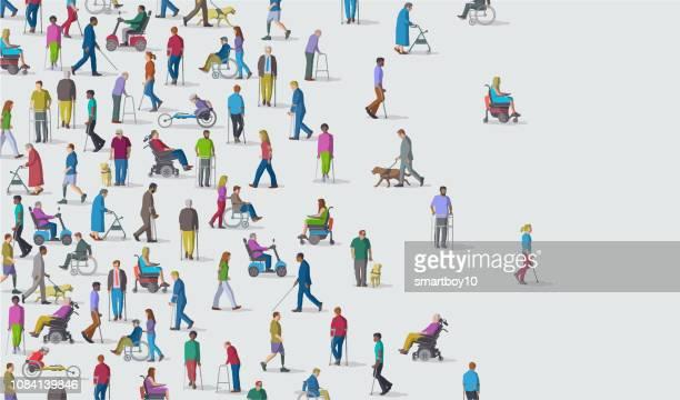 ilustrações de stock, clip art, desenhos animados e ícones de group of people with disabilities - cidadania