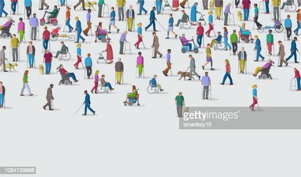 illustrations, cliparts, dessins animés et icônes de groupe de personnes ayant une déficience - prothèse