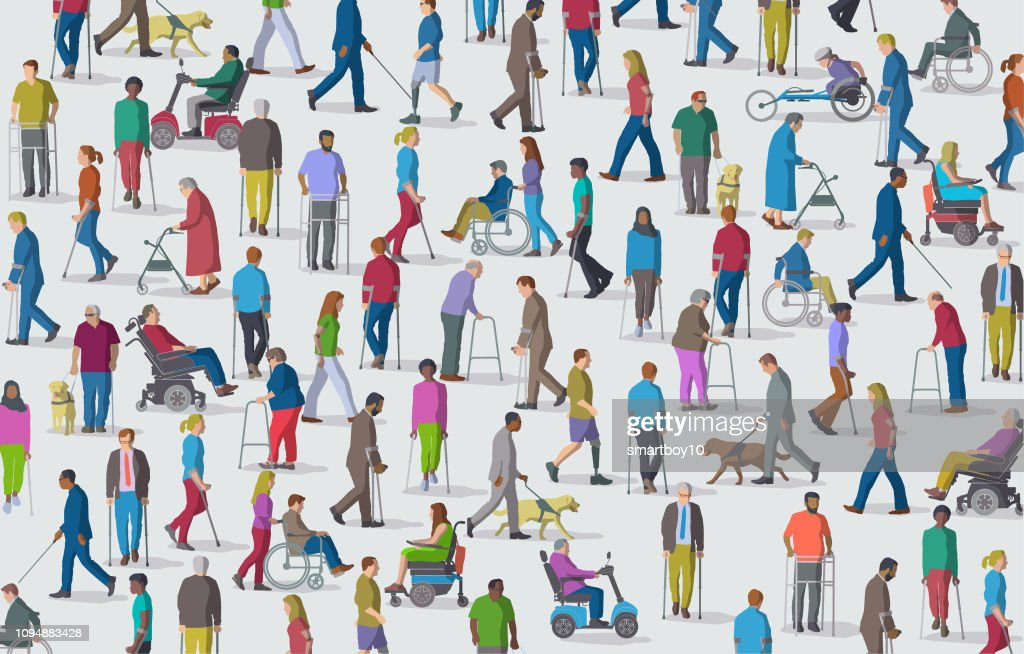 Group of People with Disabilities : stock illustration