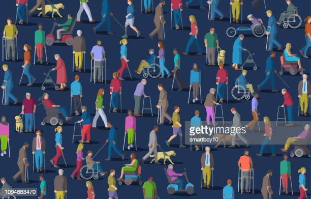 障害を持つ人々 のグループ - 白杖点のイラスト素材/クリップアート素材/マンガ素材/アイコン素材