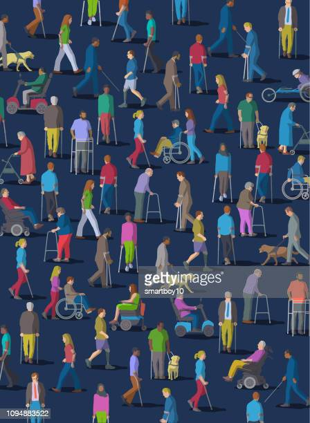 group of people with disabilities - blindness stock illustrations, clip art, cartoons, & icons