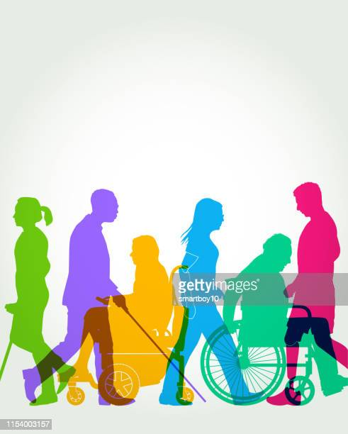 group of people with disabilities - diversity stock illustrations