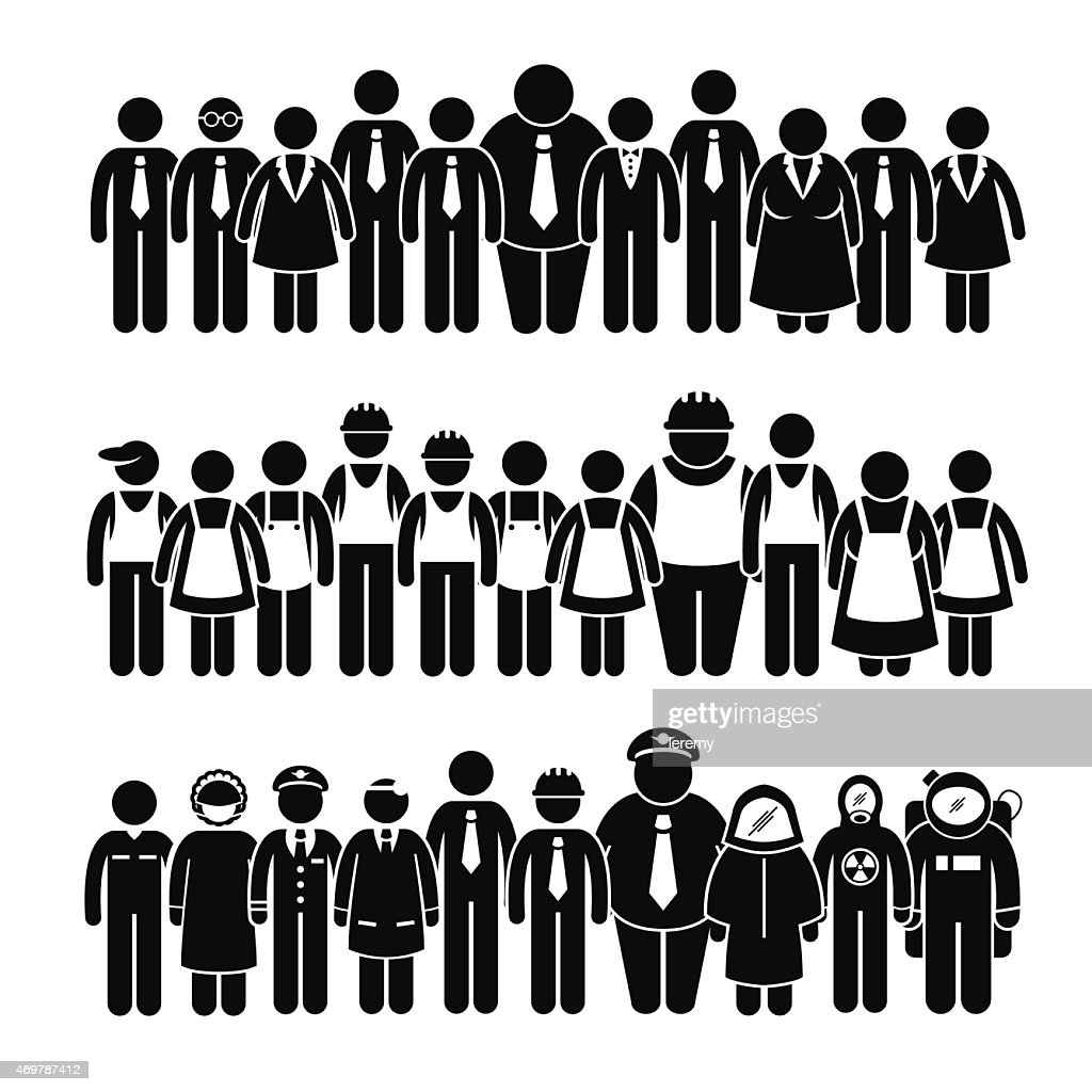 Group of People Worker Different Profession Stick Figure Pictogram Icons