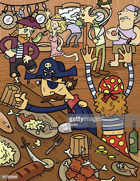 group of pirates eating and drinking at saloon - prostitution stock illustrations, clip art, cartoons, & icons