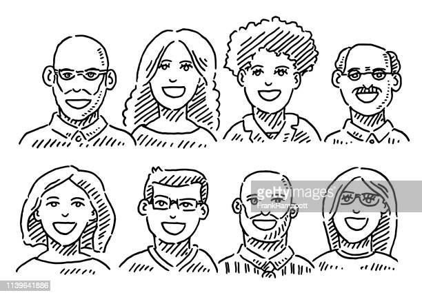 Group Of Portraits Business Team Drawing