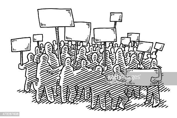 group of protesters blank signs drawing - protest stock illustrations, clip art, cartoons, & icons