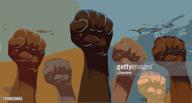 group of protesters or activists hands in the air - protest stock illustrations