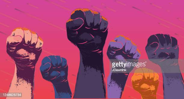 group of protesters or activists hands in the air - unfairness stock illustrations