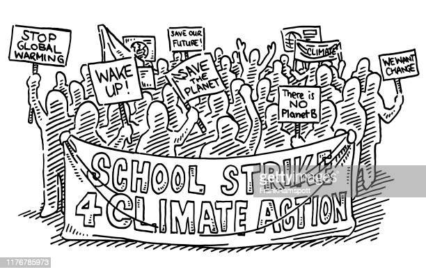group of school strike protesters drawing - striker stock illustrations