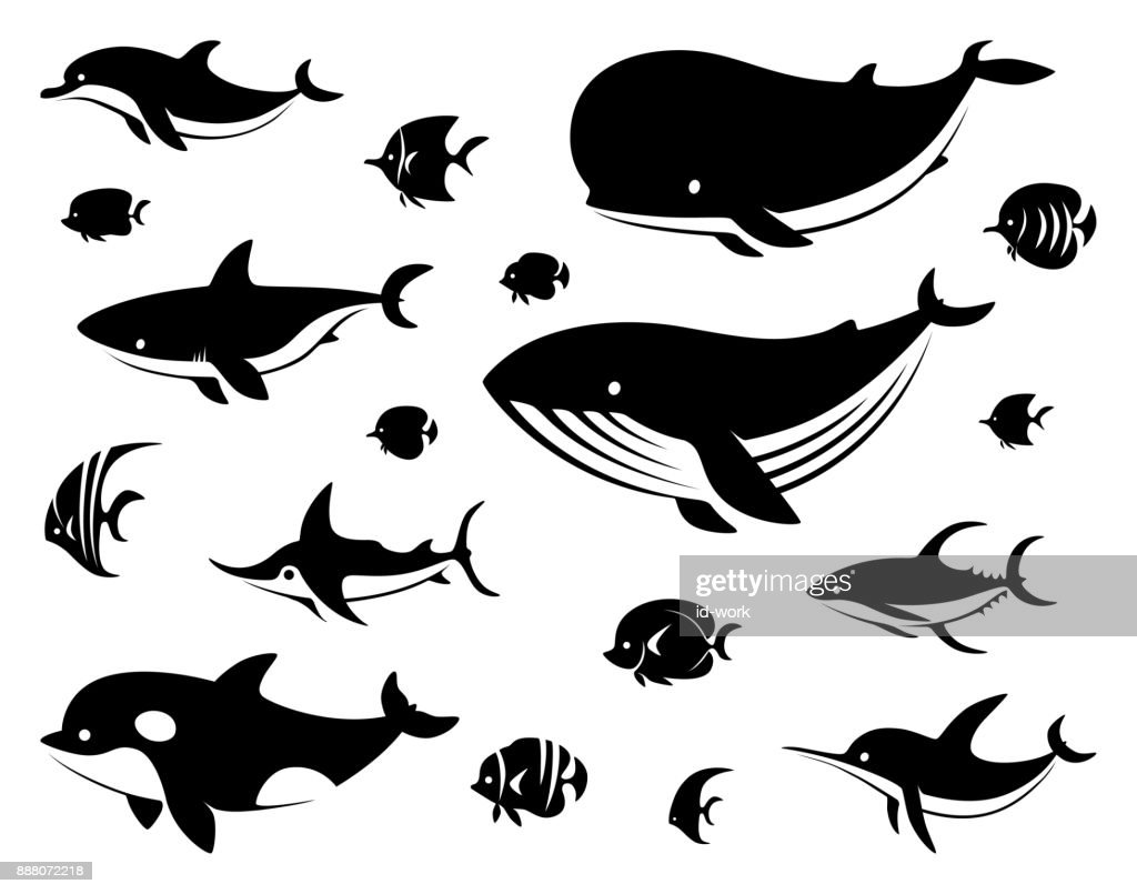 group of sea creatures silhouette : stock illustration