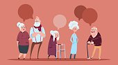 Group Of Senior People With Chat Bubble Walking With Stick Modern Grandfather And Grandmother Full Length