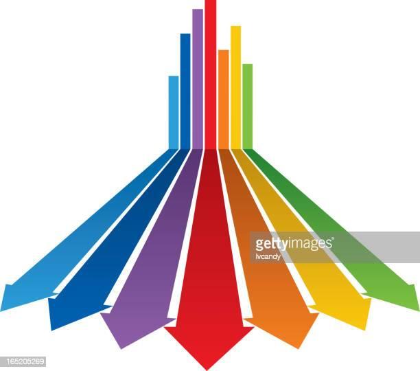 illustrazioni stock, clip art, cartoni animati e icone di tendenza di gruppo di sette colori frecce - prospettiva lineare