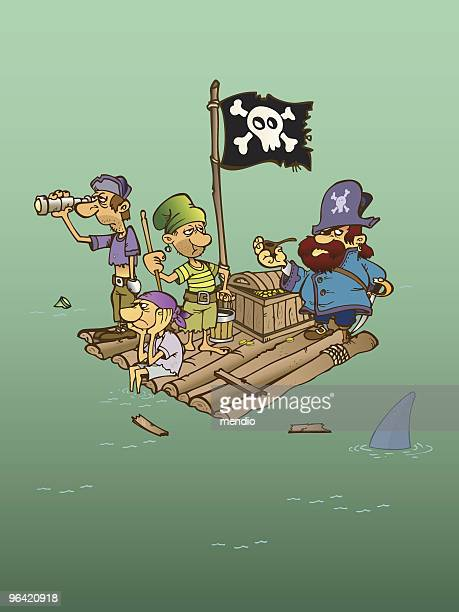 Group of Shipwrecked pirates on a raft