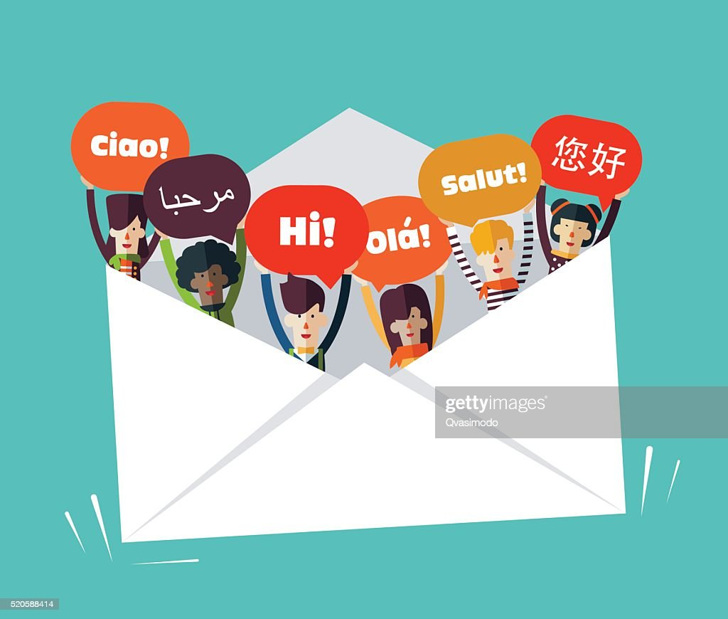 Group of smiling people with speech bubbles in different languages