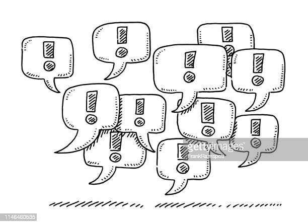 group of speech bubbles exclamation mark symbol drawing - exclamation mark stock illustrations
