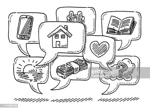 illustrazioni stock, clip art, cartoni animati e icone di tendenza di gruppo di bolle vocali con disegno icone - previsione