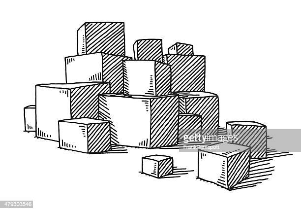 Group Of Stacked Boxes Drawing