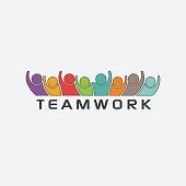 Group of Teamwork People Together Logo