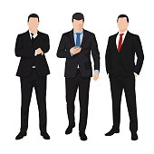 Group of three business men, isolated vector illustrations. People
