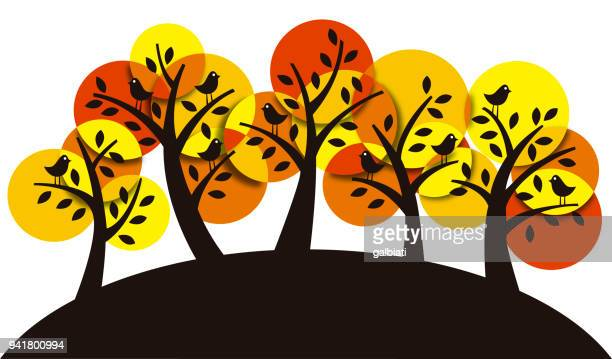 Group of trees in warm colors