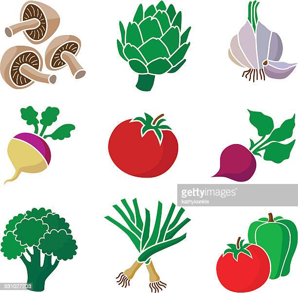 group of various healthy vegetables - leek stock illustrations, clip art, cartoons, & icons